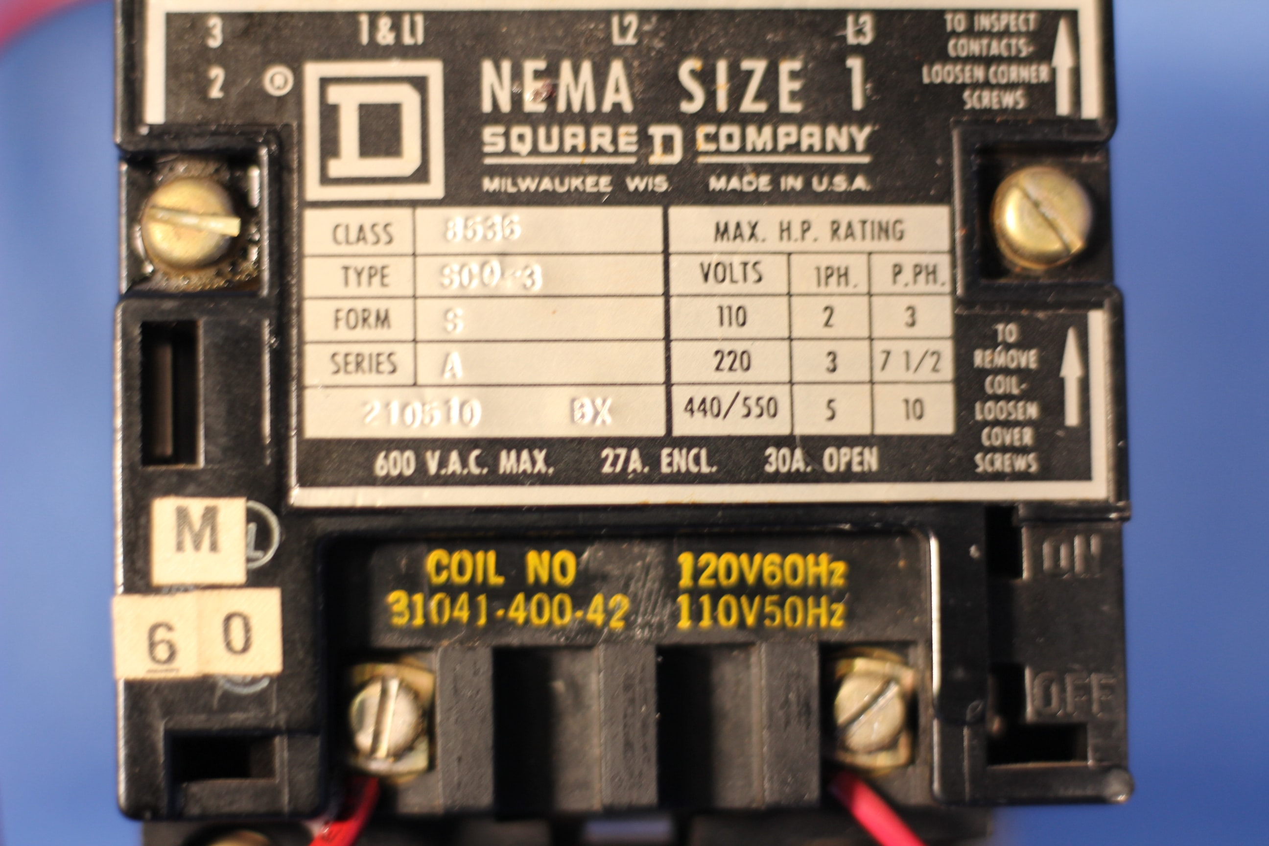 Square D 8536 SC0 3 NEMA Size 1 120 V Coil Starter