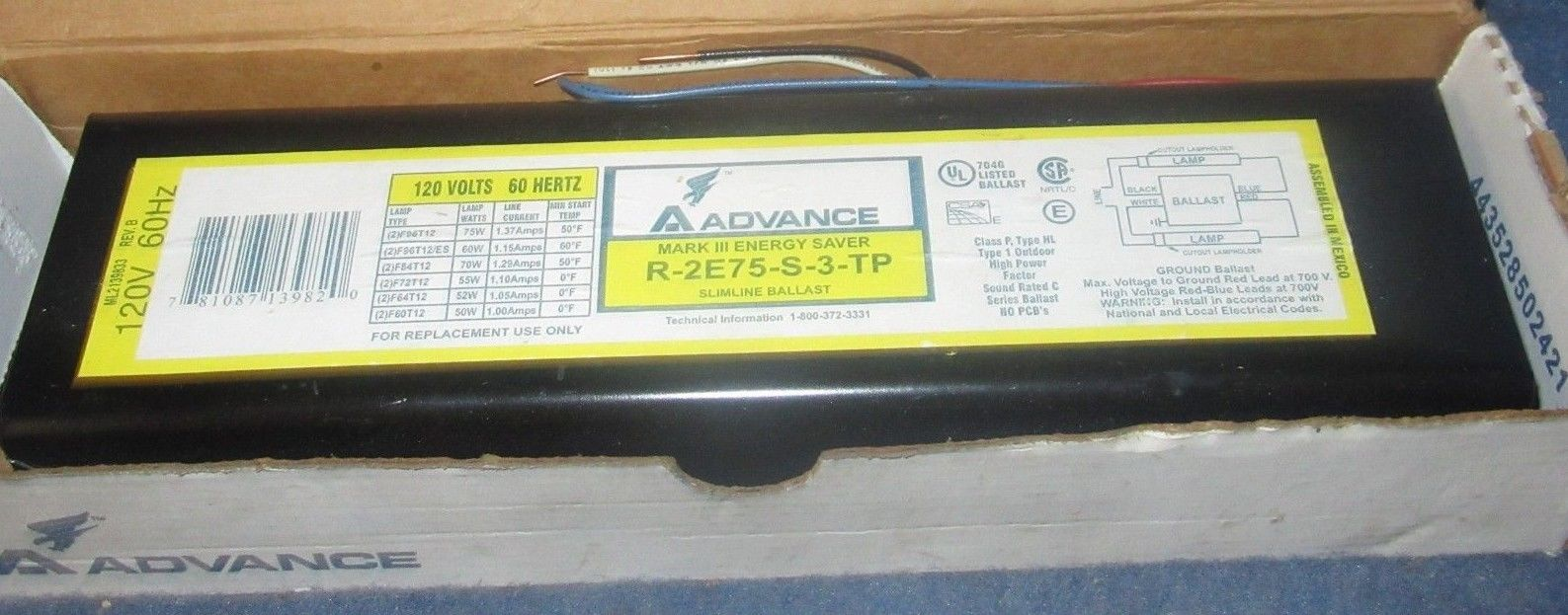Advance Mark III Energy Saver Fluorescent Light Slimline Ballast R-2E75-S-3-TP