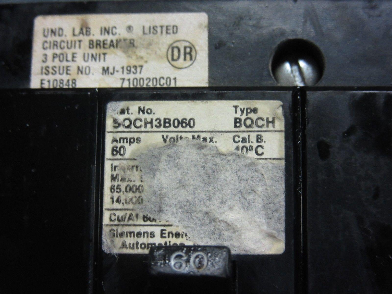 SIEMENS TYPE BQCH 60A 3P 277//480VAC CIRCUIT BREAKER BQCH3B060