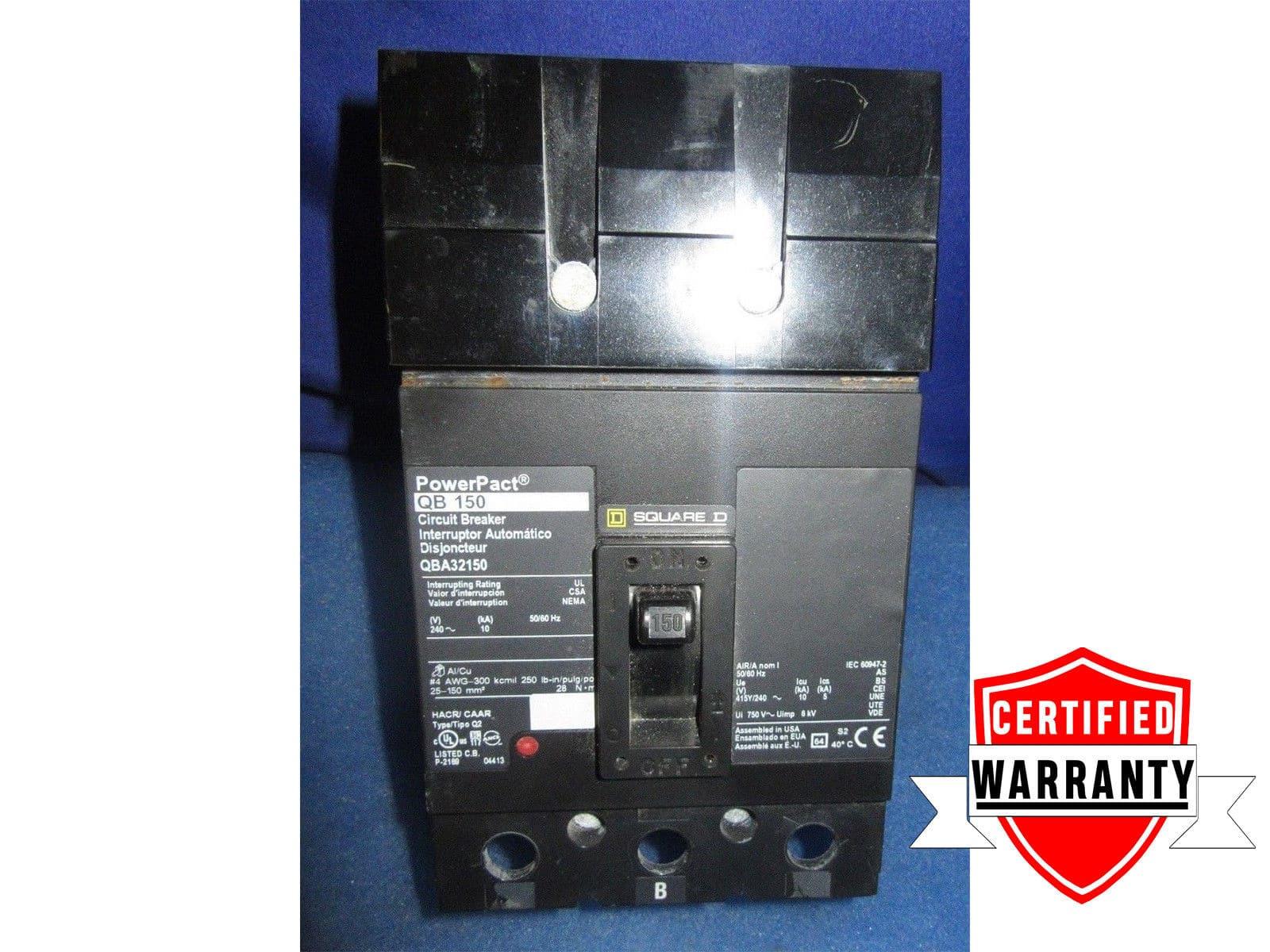 240 Volt Square D 150 Amp Circuit Breaker QBA32150 New Breakers 3 Poles