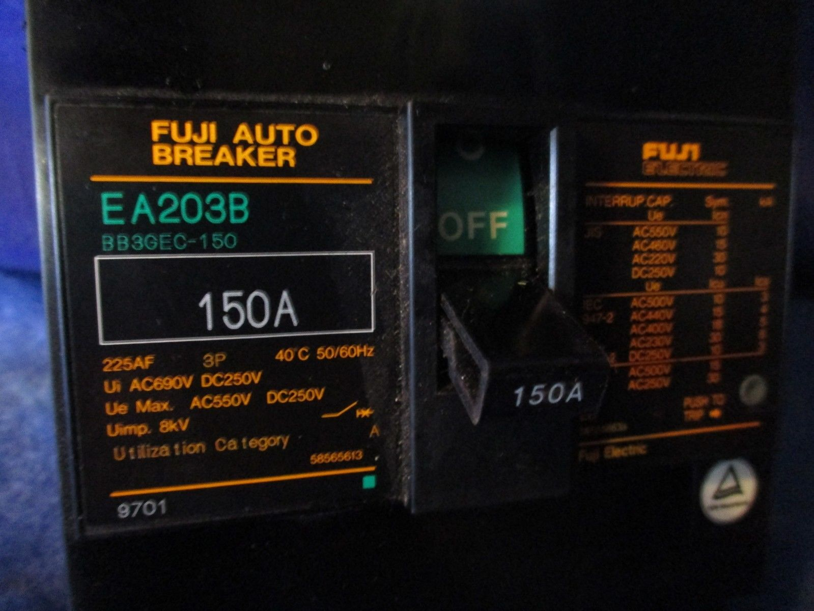 New Fuji Electric EA203B 3P 225A Industrial Automation Auto Circuit Breaker
