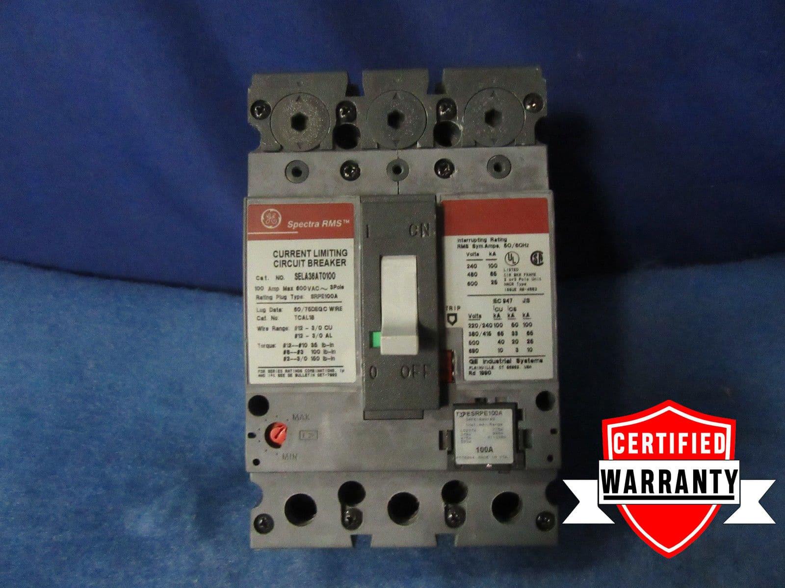 GE 40A 3P 240VAC TEY340 CIRCUIT BREAKER TYPE TEY M02 1 year warranty