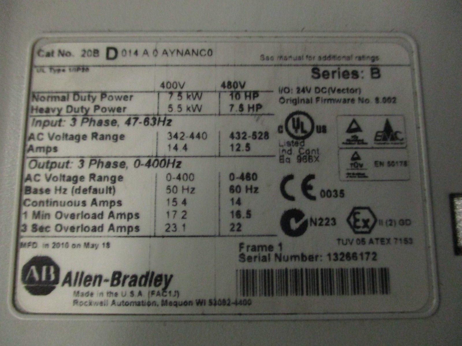 Allen Bradley 20B-D-014-A-0-AYNANCO PowerFlex 700 Drive 10HP VFD 1 year  warranty