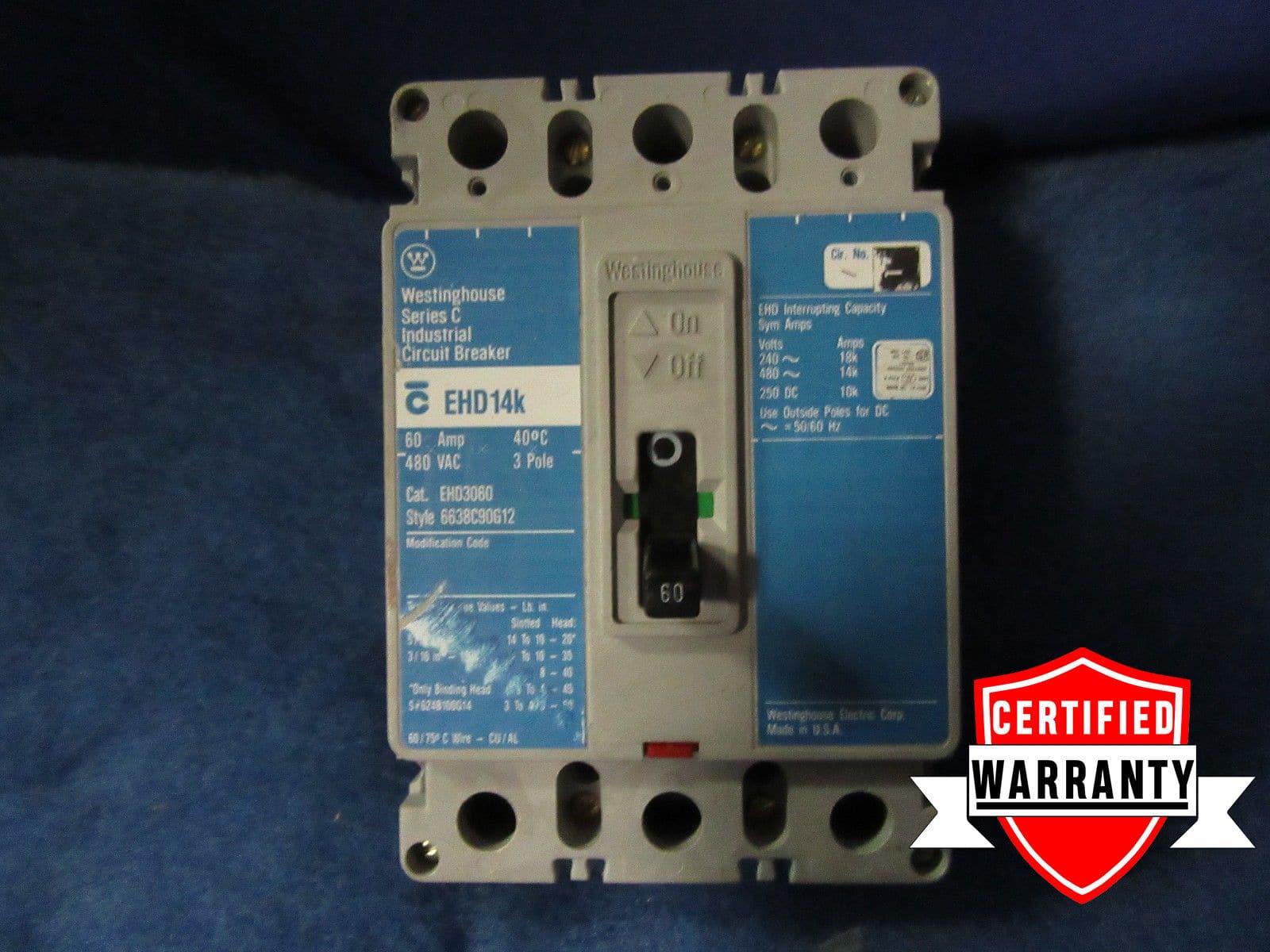 Cutler Hammer EHD3060 3 POLE 60 AMP 480 VOLT Circuit Breaker WARRANTY