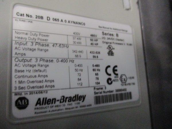 ALLEN BRADLEY 20B-D-065-A-0-AYNANC0 POWERFLEX 700 50HP DRIVE VFD 1 Year  Warranty